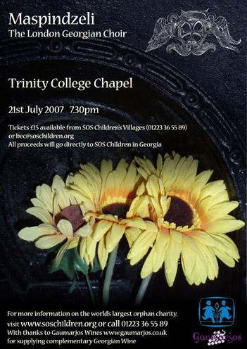 poster for Cambridge concert